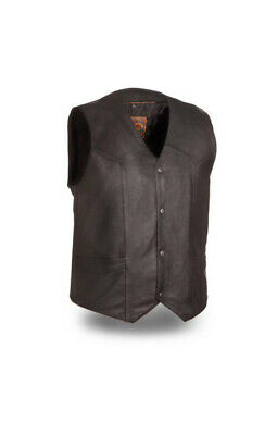 Men's Black Classic Leather Vest with No Laces Size XL