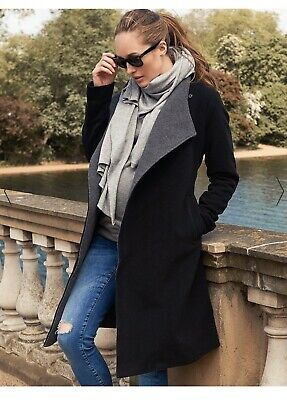 Seraphine Black Cashmere And Wool Maternity Coat Size 10 Retailing Now For £160