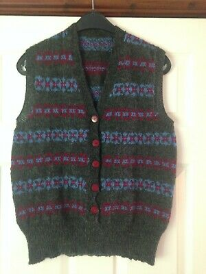 Ladies 1940'S Pattern Hand Knitted Sleeveless Cardigan Size 14