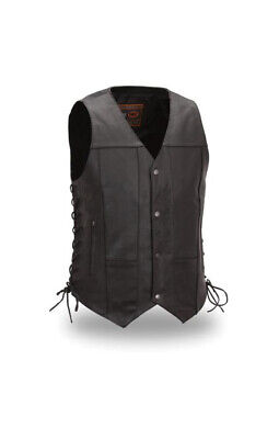 Men's Black 10 Pocket Leather Vest with Laces Size 3XL