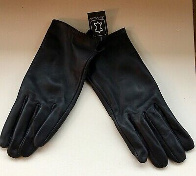 Ladies Black Leather Gloves Medium New With Tags
