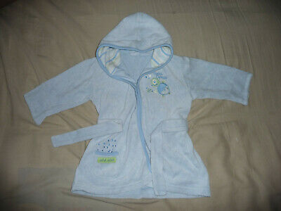 Cute pale blue towelling dressing gown - 3-6 months - VGC
