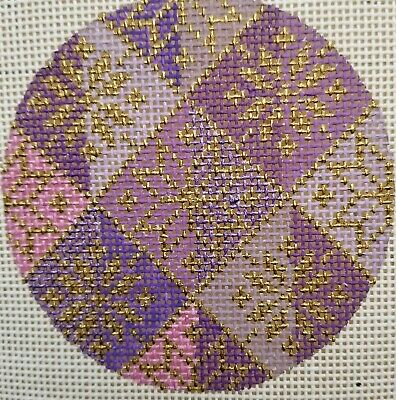 Bargello  Hand Painted HP Round Ornament Needlepoint Canvas 18 mesh Geometric