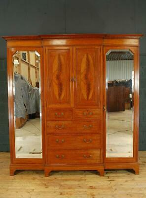 Large Antique French Mahogany Breakfront Triple Wardrobe Compactum