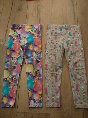 2 pairs of Girls George Christmas Leggings 3-4 years - Stockings & baubles