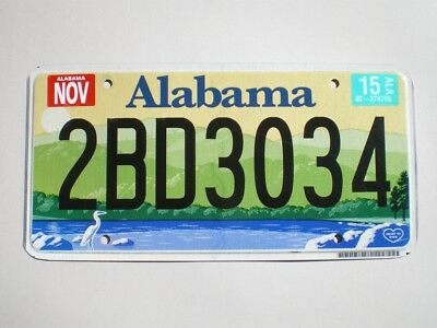 AUTHENTIC 2015 ALABAMA LICENSE PLATE (Flat style / Non emboutie)
