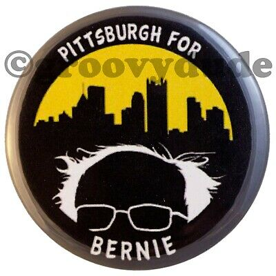 Pittsburgh For Bernie Sanders President 2.25 Campaign Skyline Pin Pinback Button