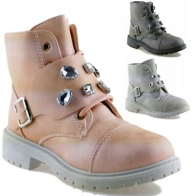 SHINY KIDS Ankle girls boots Fur lined GRIP SOLE ARMY COMBAT WINTER SNOW SHOES.