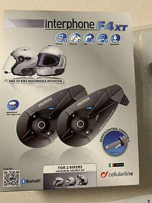 Interphone F4 XT Twin Pack - Bluetooth System für Motorrad Helme (Jet/ Integral)