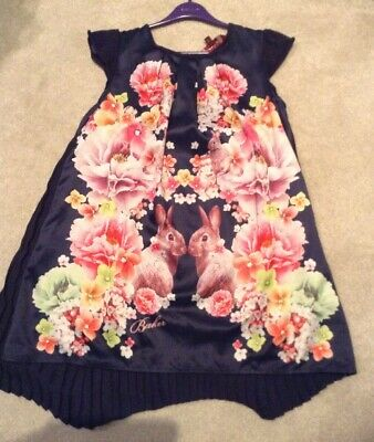 Cute Ted Baker Girls Dress Age 8-9. Dark Blue/Purple With Flowers & Bunnies