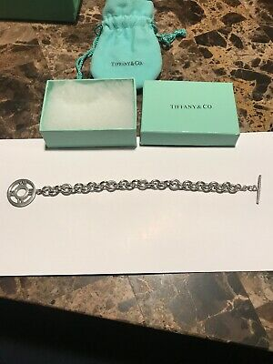 Authentic Tiffany & Co Sterling Silver Circle Toggle Charm Link Bracelet 7.5""