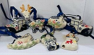 Lovely Nordic Embroidery Blue Pattern Ceramic Christmas Ornaments - SET OF 7