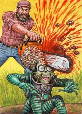 2017 TOPPS MARS ATTACKS THE REVENGE #46 Color Rough / Highly Detailed Art LAYRON
