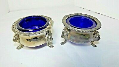 Vintage Pair Footed Silver Plate Open Salts With Cobalt Blue Glass Inserts