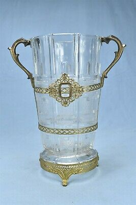 """Antique GORGEOUS NOUVEAU HANDLED BRASS & PANEL GLASS FOOTED 10"""" VASE HEAVY 08745"""