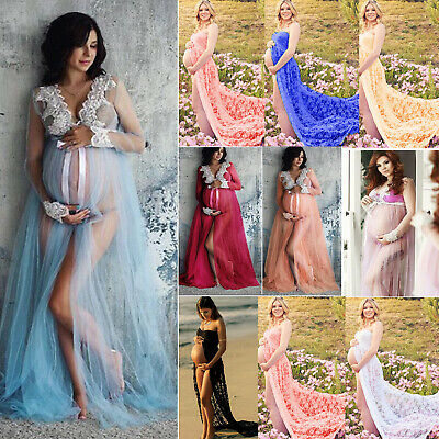Pregnant Maternity Womens Ladies Lace Maxi Dress Photography Props Photo Shoot