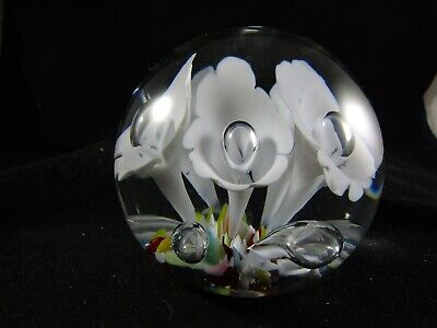 Vintage Art Glass Millville Controlled Bubble- Ribbon- Pontil- Paperweight #539