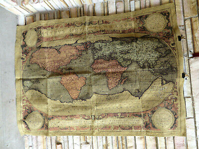 "Old Map of the World Large Chenille Tapestry Wall Hanging 38"" x 53"""