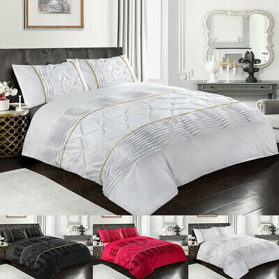 Pintuck Duvet Cover Set Single Double Super King Size Luxury Bedding Set Quilt