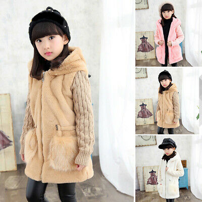 Kids Girls Winter Warm Hooded Fluffy Coat Fuax Fur Fleece Plush Jacket Outwear