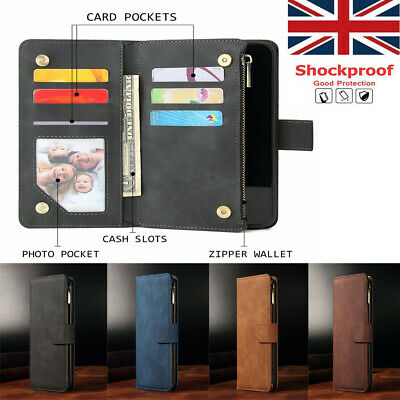 For iPhone 11 Pro Xs Xr Zip Coin Purse Card slot Flip Leather Wallet Case Cover