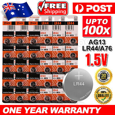 Up 100x For Maxell LR44 0%Hg Battery A76/AG13 Button Cell Batteries EXP2022 NEW