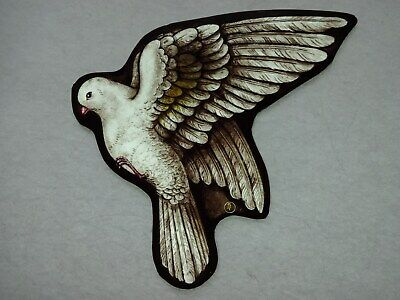 Beautiful Stained glass BIRD Hand painted Kiln fired 195 x 170 mm Antique style