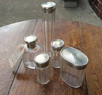 Art Deco silver perfume bottle vanity set hallmarked London 1913