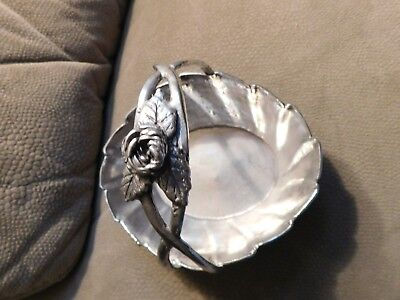 Silver Plated Candy Dish with Flower on Top and Flower Etching on Side Vintage