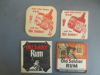 4 different OLD SOLDIER RUM 1950 -1960,S Issue Spirits  COASTERS   collectable