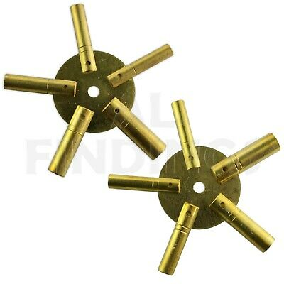 Set Of 2 Clock Winding Keys - All Sizes Brass Spider Star Pair - Odd And Even
