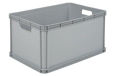 3 x 64 Ltr Heavy Duty Plastic Stacking Euro Storage Containers Boxes Crates GREY