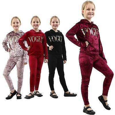 New Girls Kids Velvet Hooded Vogue Tracksuit Top Bottom Lounge Wear Sets