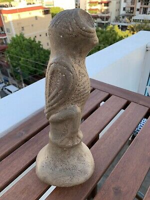 Taino Pre Columbian Brown Stone Large Cemi Bird Owl Pestle