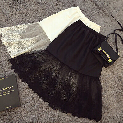 BLACK Women Skirt Safety Skirt lace Underskirt Under Dress Satin Petticoat 70cm