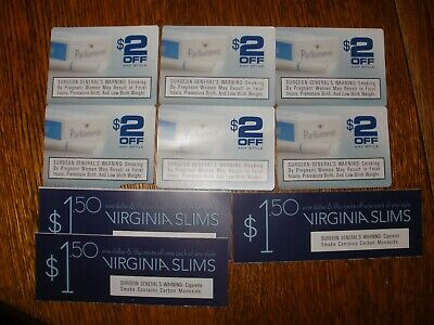 Parliament  & VS Cigarette Coupons-  9 Coupons w/ total value savings $16.50