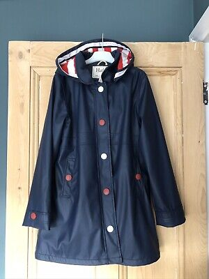 Girls Navy Hatley Fleece lined Raincoat - 10 -12 Years. Excellent Condition