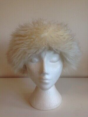 Ladies Vintage White Leather And Sheepskin Hat 53.5 Cm
