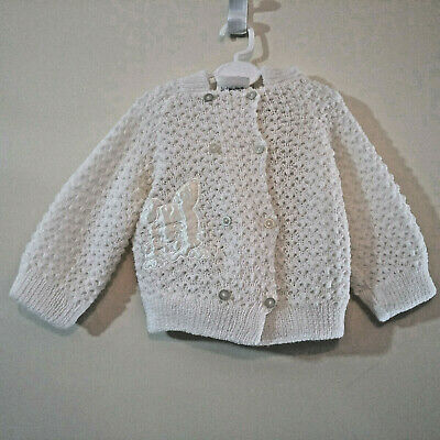 VINTAGE Becky Baby Girl Boy 0 – 6 Months White Pixie Hooded Knitted Jacket