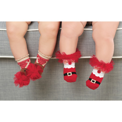 Mud Pie H7 Christmas Baby Girl Tulle Puff Socks Santa / Reindeer 1542200