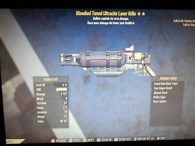 Fallout 76 PS4 Legacy Bloodied Explosive Laser Rifle Max Level 2*