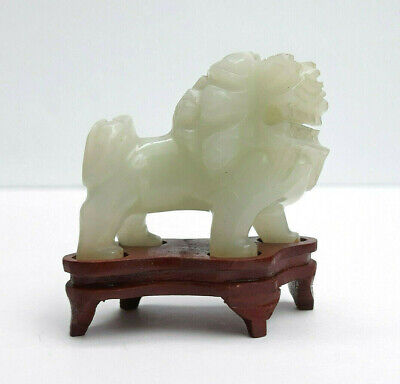 Carved Pale Green Nephrite Jade Chinese Fu Lion Figurine With Fitted Stand