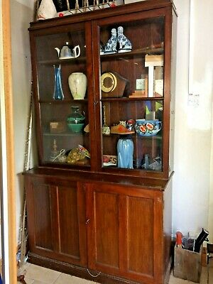 Antique Victorian Mahogany linen cupboard display unit glazed top huge