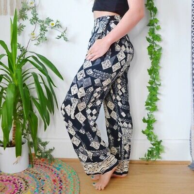 True Vintage High Waisted Funky Patterned Hippy Trousers | Size Small
