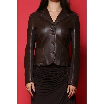 Max Mara giacca donna tessuto in pelle tg. 42 slim fit marrone