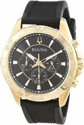 Bulova Men's Quartz Chronograph Gold-Tone Black Silicone 43mm Watch 97A137