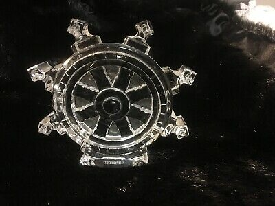 Signed Waterford Crystal Nautical Boat Ship's Wheel Art Glass Desk Paperweight