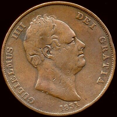 1831 PENNY William IV Good fine .W.W on truncation Very scarce Peck 1458