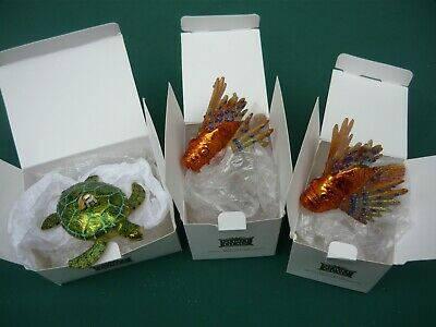 Noble Gems Hand Crafted Christmas Ornament Glass Sea Turtle And Orange Lion Fish