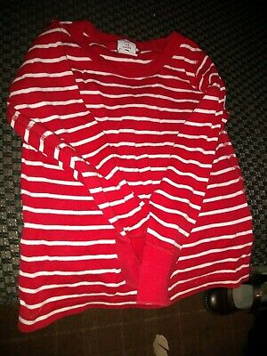 polarn o.pyrey childs red and white striped top age 3-4